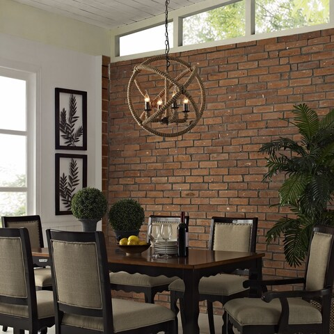 Object Steel and Rope Chandelier - Brown