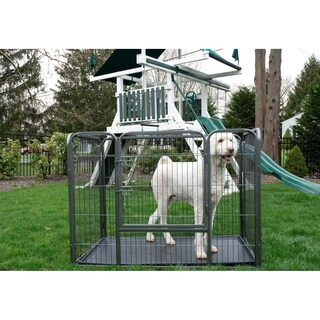 Iconic Pet Greay Metal Heavy-duty Rectangle Tube Pet Training Kennel