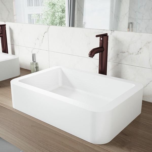 VIGO Petunia White Vessel Bathroom Sink Set with Seville Faucet