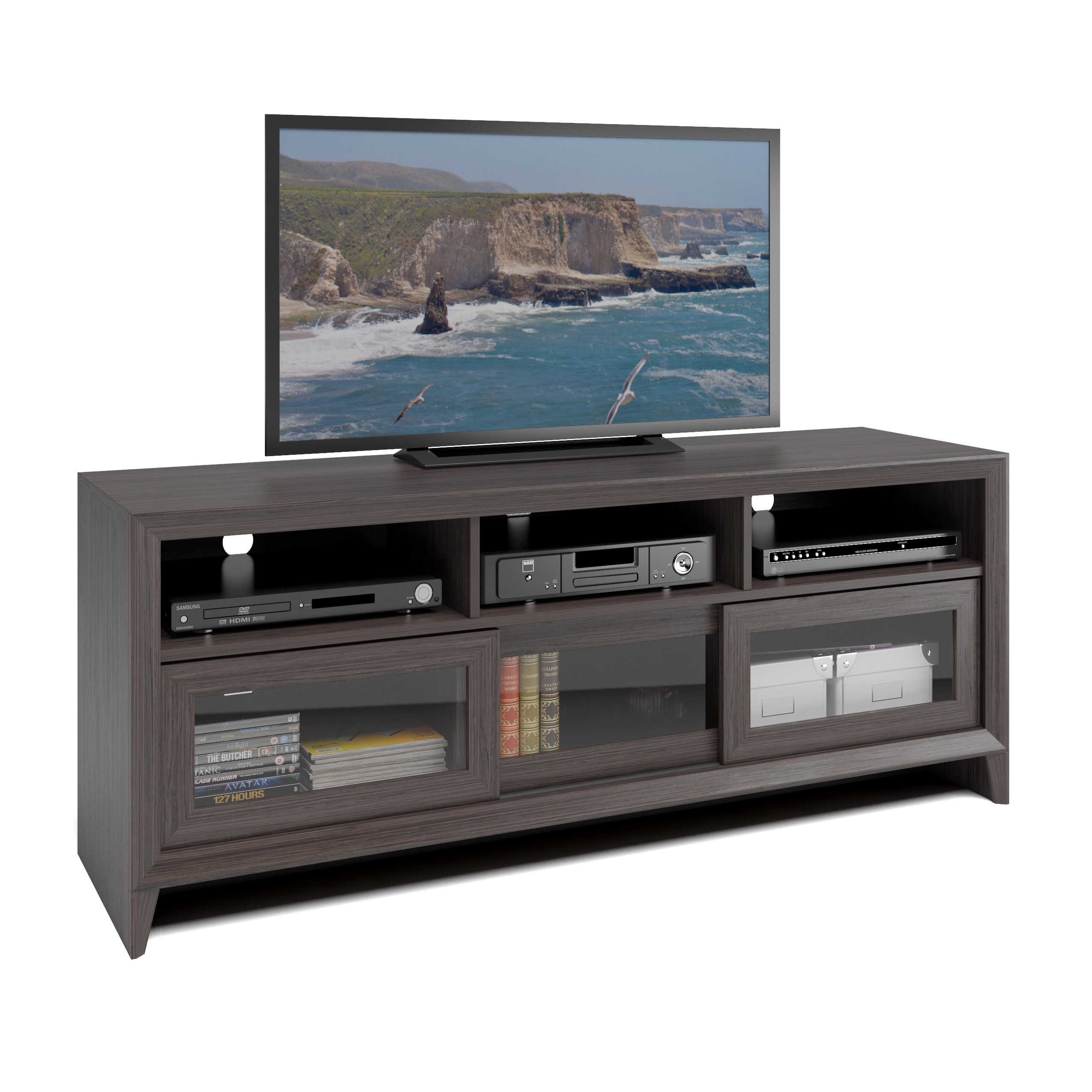 CorLiving TEK-576-B Kansas TV Bench in Modern Wenge Finish for 60 TV (Modern Wenge)