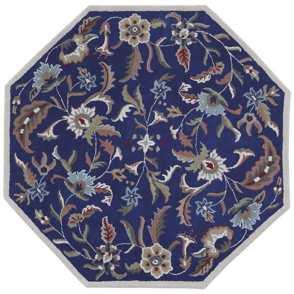 Blue Wool Traditions Paradise (8'x8') Octagon Rug - 8' x 8' Octagon