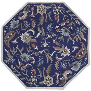 Blue Wool Traditions Paradise (8u0027x8u0027) Octagon Rug