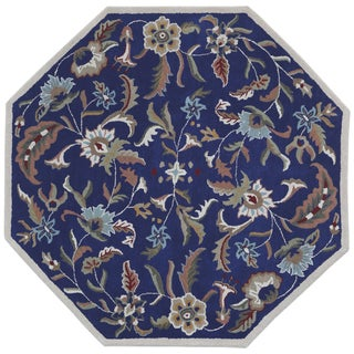 Blue Wool Traditions Paradise (6'x6') Octagon Rug - 6' x 6' Octagon