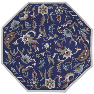 Blue Wool Traditions Paradise (6'x6') Octagon Rug