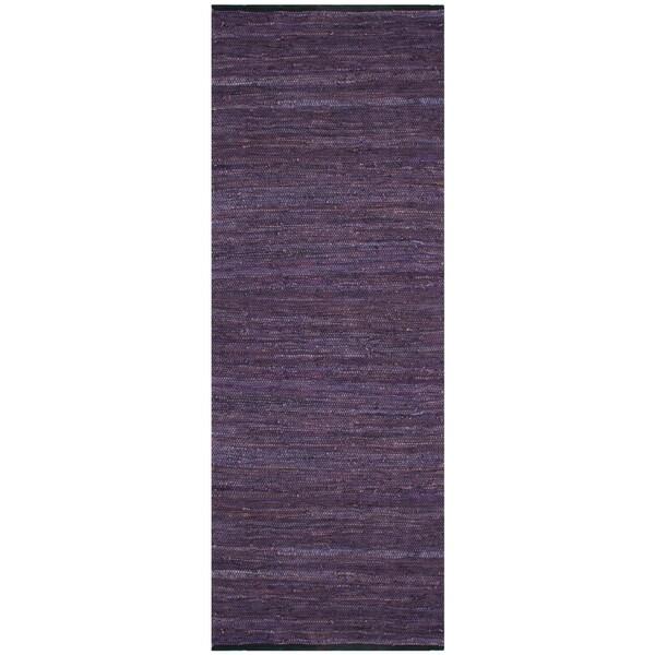 Purple Matador Leather Chindi (2.5'x8') Runner
