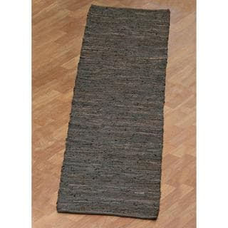 Brown Matador Leather Chindi (2.5'x8') Runner