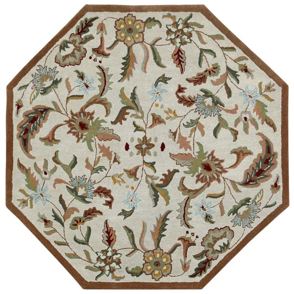 Brown Wool Traditions Paradise (8'x8') Octagon Rug - 8' x 8'