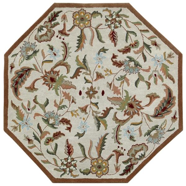 Brown Wool Traditions Paradise (8u0027x8u0027) Octagon Rug