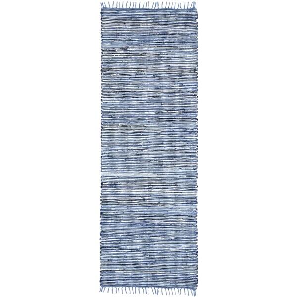 """Blue Matador Leather & Denim (2.5'x14') Runner - 2'6"""" x 14'"""