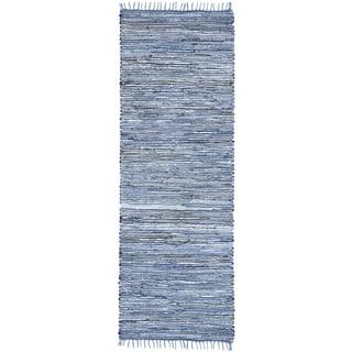 Blue Matador Leather & Denim (2.5'x14') Runner