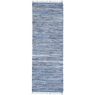 """Blue Matador Leather & Denim (2.5'x12') Runner - 2'6"""" x 12'"""