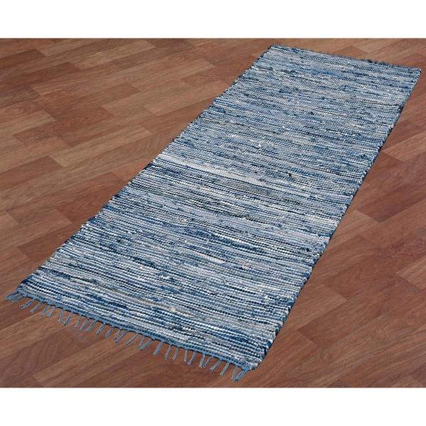 """Blue Matador Leather & Denim (2.5'x8') Runner - 2'6"""" x 8'"""