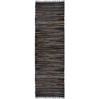 Brown Matador Leather Chindi (2.5'x8') Runner
