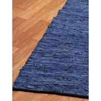 Blue Matador Leather Chindi (2.5'x14') Runner