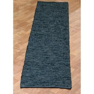 Black Matador Leather Chindi (2.5'x14') Runner