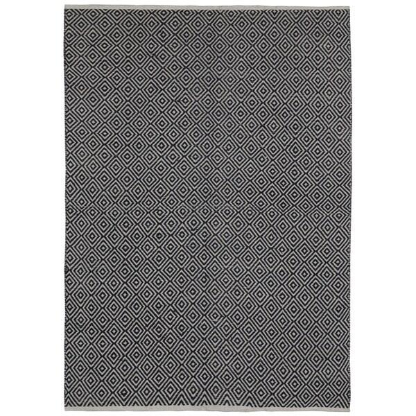 Black Jute Diamonds 9 X12 Flat Weave Rug Free