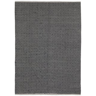 Black Jute Diamonds (8'x10') Flat Weave Rug