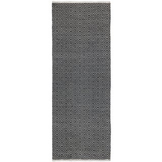 Black Jute Diamonds (2.5'x12') Flat Weave Runner