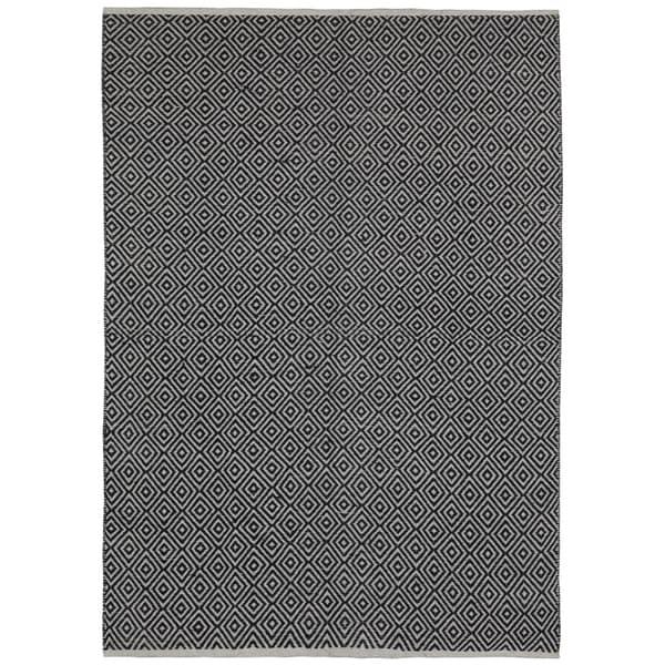 Black Jute Diamonds (10'x14') Flat Weave Rug - 10' x 14'