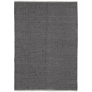 Black Jute Diamonds (4'x6') Flat Weave Rug