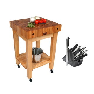 John Boos Maple Butcher Block 24 x 24 Kitchen Cart GB-C and Henckels 13-piece Hencles Knife Set
