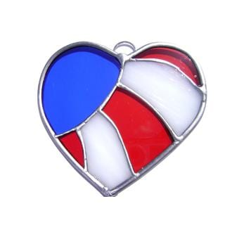 Stained Glass Patriotic Heart USA Flag Suncatcher