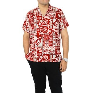 La Leela Men's Likre White/ Red Tropical Printed Hawaiian Camp Shirt