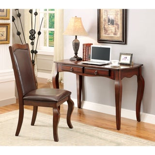 Furniture of America Arcadie 2-piece Cherry Desk and Chair Set