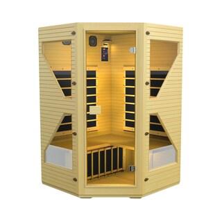 JNH Lifestyles Ensi 3-person Corner Zero-EMF Far Infrared Canadian Hemlock Wood Sauna