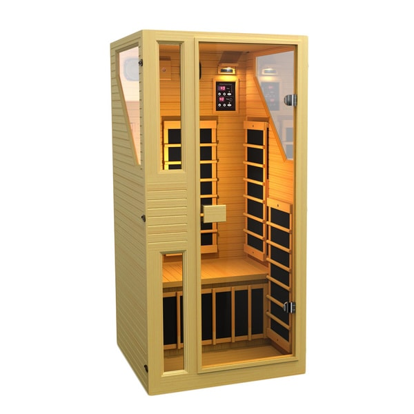 shop jnh lifestyles ensi 1 person zero emf far infrared canadian hemlock wood sauna model. Black Bedroom Furniture Sets. Home Design Ideas