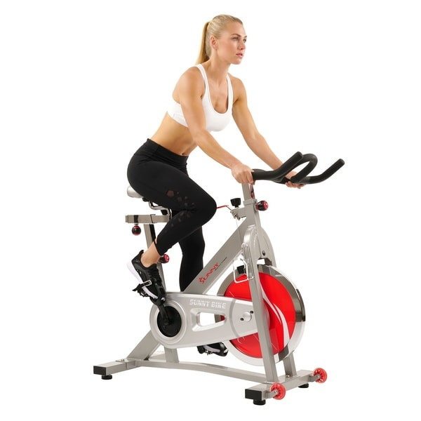 Sunny Health & Fitness SF-B901B Belt Drive Indoor Cycling Bike - Silver