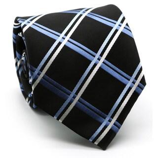 Ferrecci Men's Premium Cross Striped Neckties/ Hanky Set