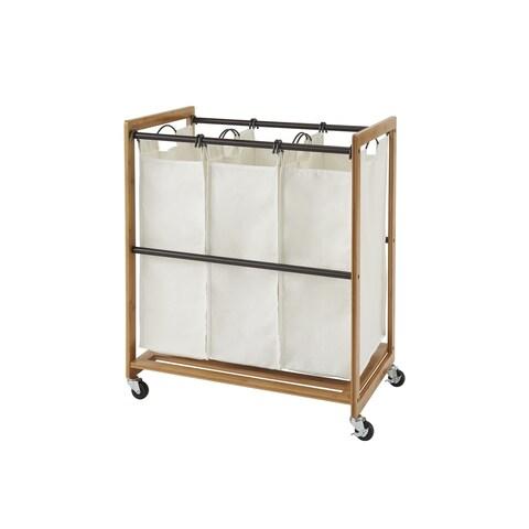 TRINITY EcoStorage 3-Bag Bamboo Laundry Cart - Bronze Poles