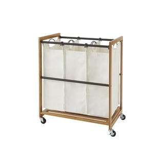 TRINITY EcoStorage 3-Bag Bamboo Laundry Cart - Bronze Poles