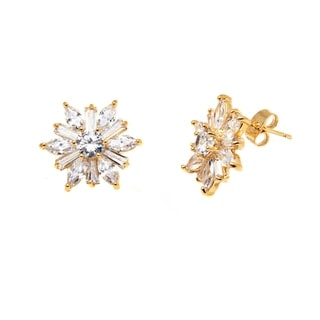 Peermont Jewelry 18k Goldplated Gold and Clear Crystal Flower Earrings