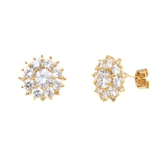 Peermont Jewelry 18k Goldplated Gold and Clear Crystal Flower Stud Earrings