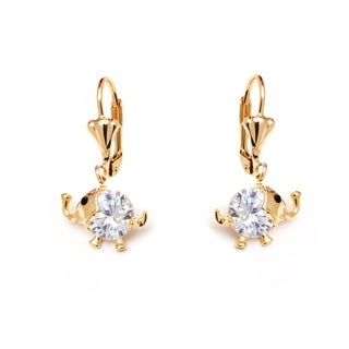 Peermont Jewelry 18k Goldplated Gold and Clear Crystal Elements Elephant Drop Earrings