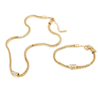 Peermont Jewelry Goldplated Gold and Crystal Elements Round Roll Box Link Bracelet and Necklace