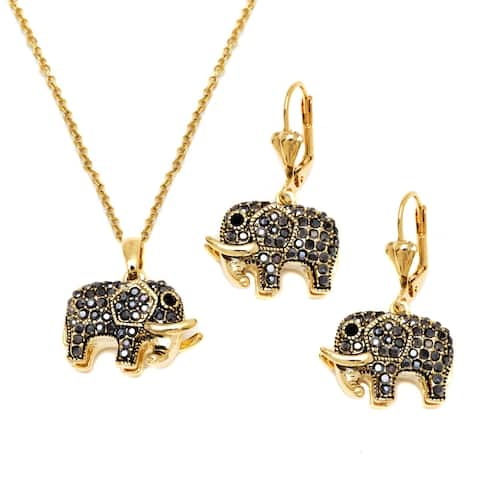 Goldplated Black Crystal Element Elephant Drop Earrings and Necklace