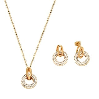 Peermont Jewelry 18k Goldplated Gold and White Crystal Elements Open Circle Drop Earrings and Necklace Set