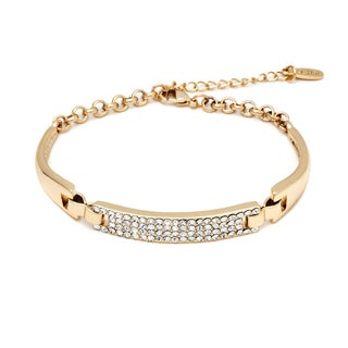 Goldplated Brass, White Crystal Accent Block Bracelet