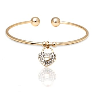 Peermont Jewelry 18k Goldplated Gold and White Crystal Elements Heart Lock Charm Bangle