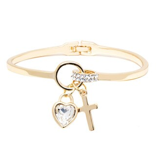 Peermont Jewelry 18k Goldplated Gold and Crystal Heart and Cross Charm Bangle