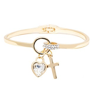 Goldplated Gold and Crystal Heart and Cross Charm Bangle - Yellow