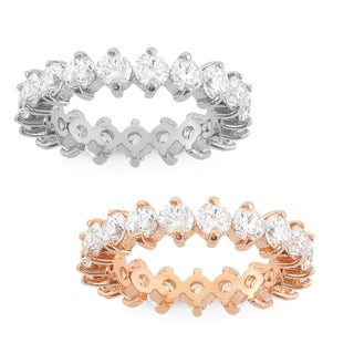 Gioelli Silver and Rose Gold Plated Round-cut Cubic Zirconia Eternity Band