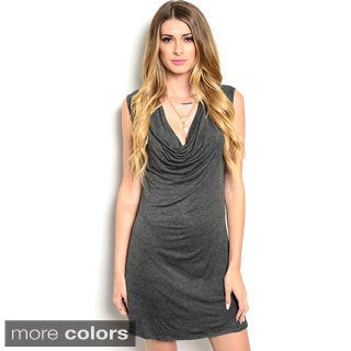 Shop The Trends Women's Sleeveless Short Dress with Cowl Neckline and Draped Bodice