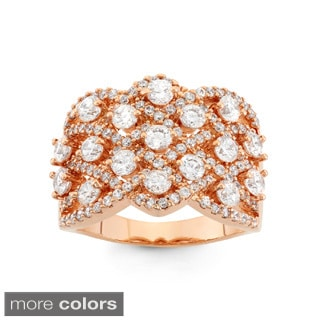 Gioelli Silver and Rose Gold Plated Criss-cross Cubic Zirconia Ring