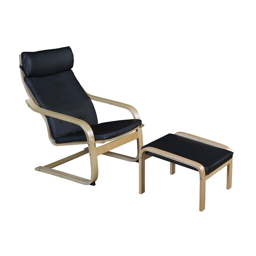 Niche Mia Bentwood Natural/ Black Leather Reclining Chair And Ottoman