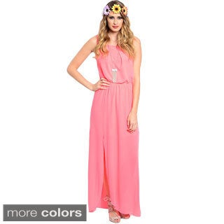Shop The Trends Women's Sleeveless Chiffon Maxi Dress with Blouson Waist and Thigh-high Side Slit