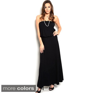 Shop The Trends Women's Strapless Knit Maxi Dress with Blouson Bodice and Flowy Skirt